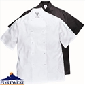 Portwest C733 Cumbria Chefs Jacket Short Sleeve White Large